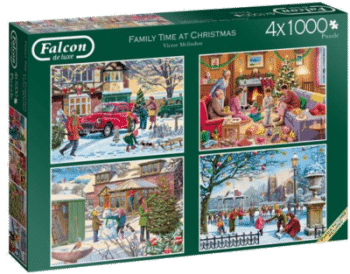 Jumbo Spiele 11269 4x 1000 Family Time at Christmas Weihnachtspuzzle 2020