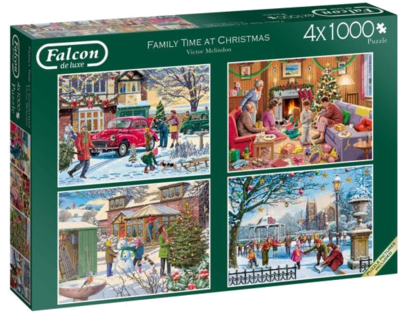Falcon de luxe 11269 Puzzle Family Time at Christmas-Puzzle, 4 x 1000 Teile, Weihnachtspuzzle 2019