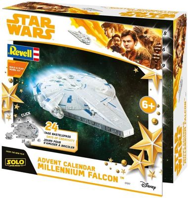 Revell Build&Play 01017 - Adventskalender Millennium Falcon, Star Wars, Disney SOLO Buben Jungs
