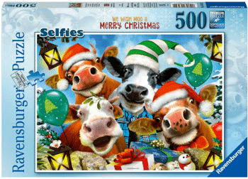 Ravensburger 16532 Weihnachtspuzzle - We Wish Moo a Merry Chistmas 500 Teile