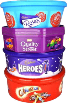 Christmas Chocolate Tubs Roses, Heroes, Quality Street AND Celebrations